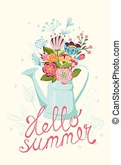 Hello summer card - Vintage floral Summer card with flowers...