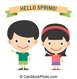 Hello Summer cartoon boy and girl with hands up vector illustration