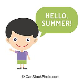 Hello Summer cartoon boy with hands up vector illustration