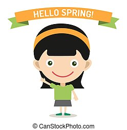 Hello Summer cartoon girl with hands up vector illustration