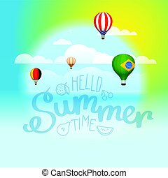 Hello summer concept. Vector illustration