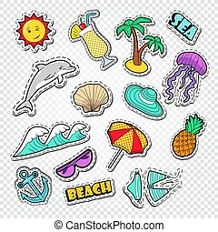 Hello Summer Doodle. Beach Vacation Stickers, Badges and Patches with Sun, Dolphin and Cocktail. Vector illustration
