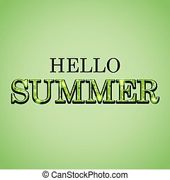 Hello summer glitter text on green background