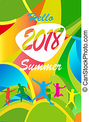 Hello Summer greeting card tropical abstract background -...