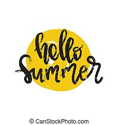 Hello Summer hand drawn brush lettering. logo Templates. Isolated Typographic Design Label with black text and yellow doodle sun icon