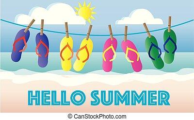 hello summer header beach vacation holiday