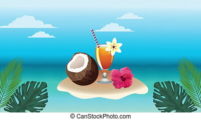 hello summer holiday poster with coconut and tropical cocktail cup ,4k video animation