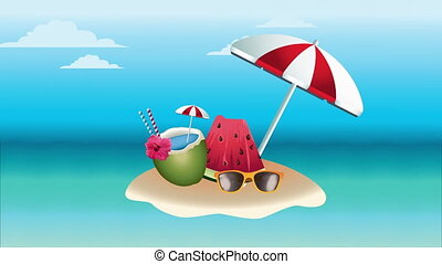 hello summer holiday poster with coconut cocktail and umbrella ,4k video animation