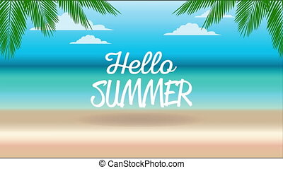 hello summer holiday poster with lettering and beach scene ,4k video animation