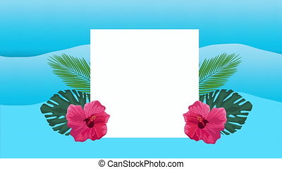 hello summer holiday poster with tropical flowers in square frame