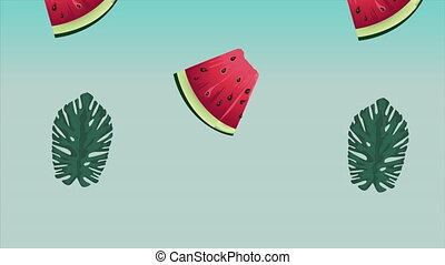 hello summer holiday poster with tropical leafs and watermelons background ,4k video animation