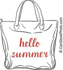 Hello summer lettering.