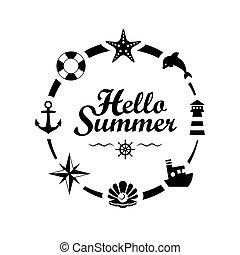Hello Summer lettering on white background