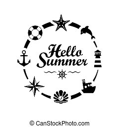 Hello Summer lettering on white background