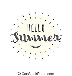 Hello Summer letters with smile vector illustration