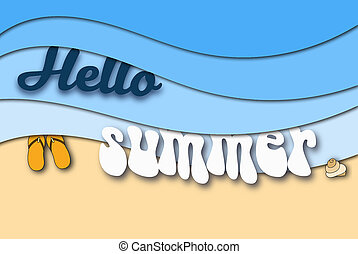 hello summer paper art background