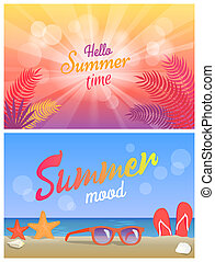 Hello Summer Party Summertime Mood Posters Set
