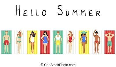 Hello Summer, People on beach mat vector illustration