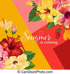 Hello Summer Poster. Floral Design with Red and Yellow Hibiscus Flowers for T-shirt, Fabric, Party, Banner, Flyer. Tropical Botanical Background. Vector illustration