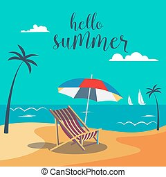 Hello Summer Poster. Tropical Beach with Palm Trees and Umbrella. Vector Background