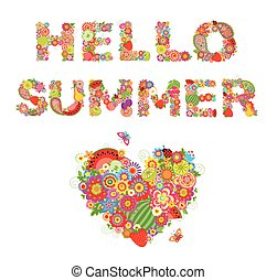 Hello, summer! Print with flowers, fruits and floral heart shape
