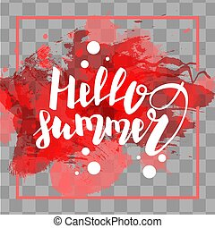 Hello summer red colored hand lettering