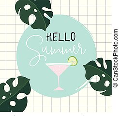 Hello Summer retro greeting card, invitation with monstera,...