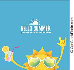 Hello Summer Rock N Roll Vector Label Or Logo. Summer Cocktail Party Poster  Background With