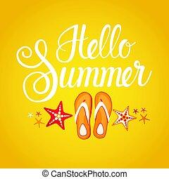 Hello Summer Season Text Banner Abstract Yellow Background