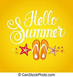 Hello Summer Season Text Banner Abstract Yellow Background