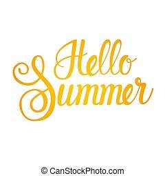 Hello Summer Season Text Banner Over White Background