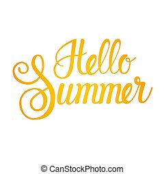 Hello Summer Season Text Banner Over White Background