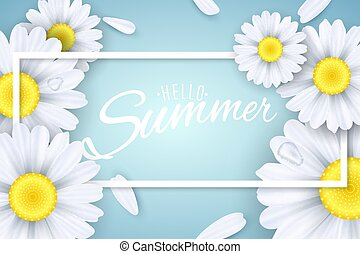 Hello Summer. Seasonal banner. Camomiles flowers on a light blue background. Text in a frame. Falling petals. Vector illustration