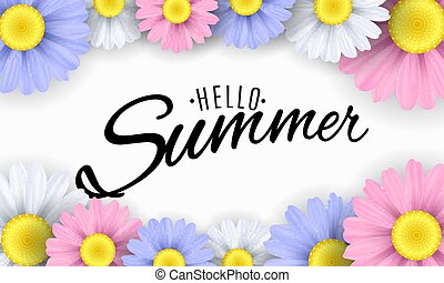 Hello Summer. Seasonal banner. Multicolored flowers on a white background. Calligraphic black text. Vector illustration