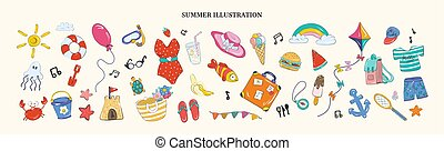 Hello summer. Set of cute icons, hot season. Cartoon style.