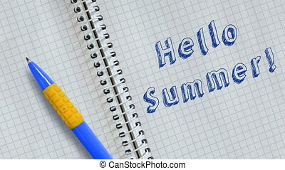 Text  Hello Summer handwritten on sheet of notebook and animated.