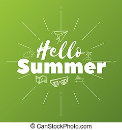 Hello Summer text on green background, doodle objects, vector illustration
