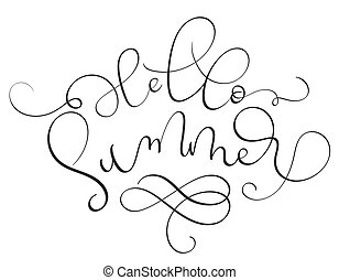 Hello Summer text on white background.