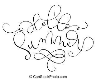 Hello Summer text on white background.