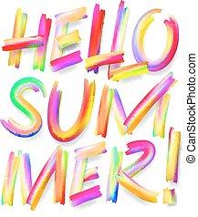 Hello Summer, typographic design on isolated white
