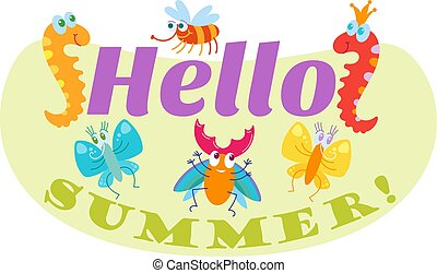 Hello Summer typographic logo sign on withe background. Sea...