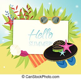 Hello Summer typographic on withe square background. Sea...