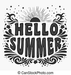 Hello Summer. Typography art.Typography background.