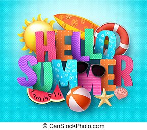 Hello Summer vector banner greeting design with 3D text typography