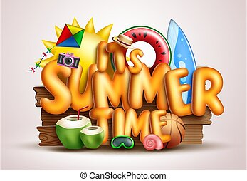 Hello summer vector concept design. Hello summer enjoy every moment text for outdoor tropical season vacation with waterfall background and forest trees nature elements.