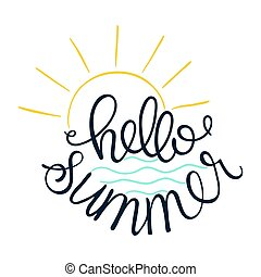Hello Summer. Vector illustration of sun icon and sea