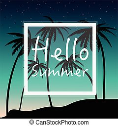 Hello Summer wallpaper with palm trees and sunset.