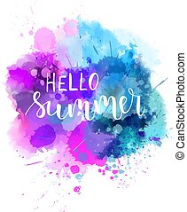 Hello summer watercolor background