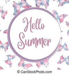 Hello summer. Watercolor banner with butterflies