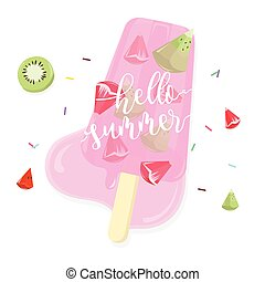 Hello summer with fruit popsicle on white background.